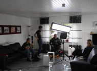 Dreh im Studio. Produktion eines Werbespots.